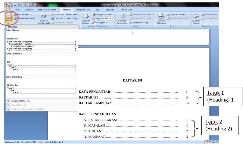 Membuat Daftar Isi Otomatis Di Ms Word 2007 Iwanpatra